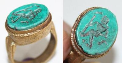 RO-0009 - Bague Romaine Etrusque Antique Afghan TURQUOISE à Intaille Guerrier - T 61 - 36 carats