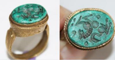 RO-0010 - Bague Romaine Etrusque  Antique Afghan TURQUOISE à Intaille Cheval - T 62 - 35 carats