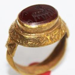 RO-0013 - Bague Romaine Etrusque Antique Afghan en CORNALINE à Intaille Dragon --------- T 59 ----- 40 carats