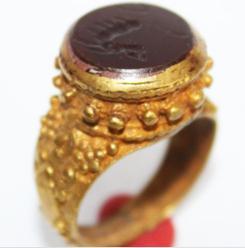 RO-0017 - Bague Romaine Etrusque Antique Afghan en CORNALINE à Intaille Dragon --------- T 54 ----- 37 carats