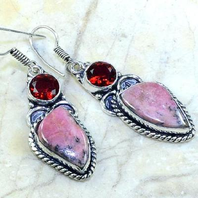 Rod 002c boucles pendants oreilles rhodonite grenat achat vente bijou argent 925