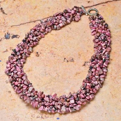 Rod 005d collier rhodonite parure sautoir achat vente bijou pierre naturelle lithotherapie 1