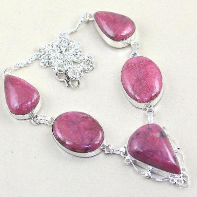 Rod 011a collier rhodonite parure sautoir achat vente bijou pierre naturelle lithotherapie