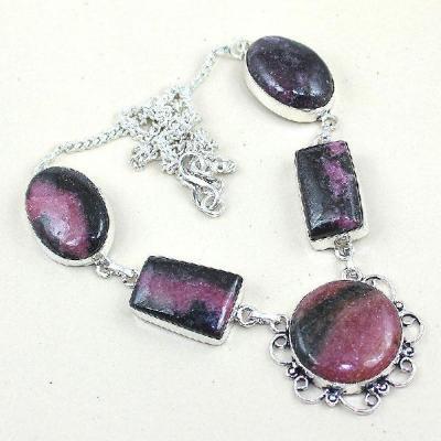 Rod 013a collier rhodonite parure sautoir achat vente bijou pierre naturelle lithotherapie