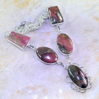 Rod 028a collier parure sautoir rhodonite achat vente bijou lithotherapie argent 925