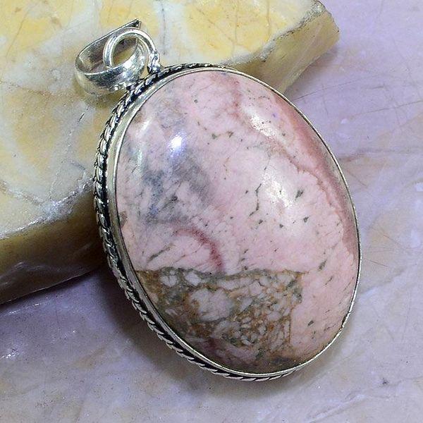 Rod 030a pendant pendentif rhodonite achat vente bijou pierre lithotherapie argent 925