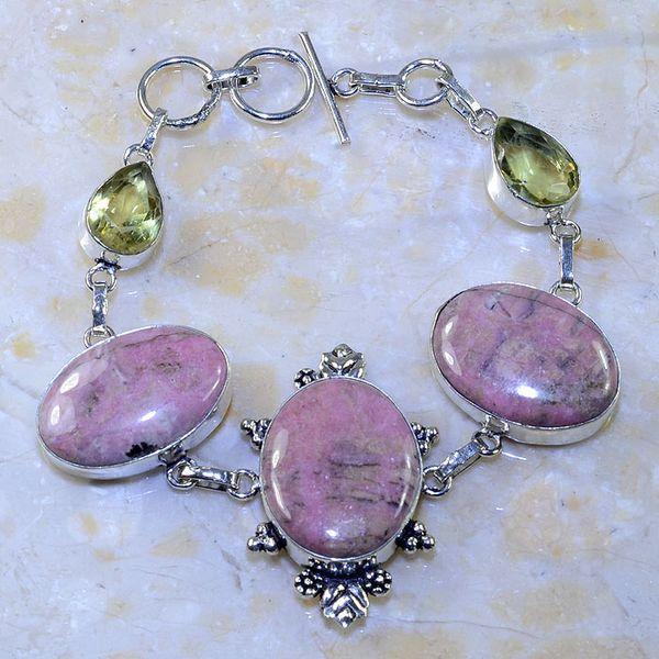Rod 033a bracelet rhodonite citrine achat vente bijou pierre lithotherapie argent 925 2
