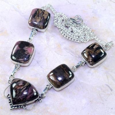 Rod 037d collier parure sautoir rhodonite achat vente bijou lithotherapie argent 925