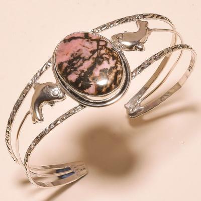 Rod 041a bracelet torque rhodonite achat vente bijou pierre lithotherapie argent 925 1 1
