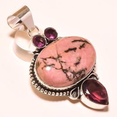 Rod 044a pendant pendentif rhodonite amethyste achat vente bijou lithotherapie argent 925 1