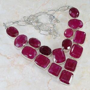 Ru 0041a collier parure rubis argent 925 achat vente 1