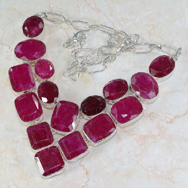 Ru 0041c collier parure rubis argent 925 achat vente 1