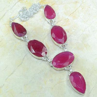 Ru 0318a collier parure sautoir rubis argent 925 achat vente