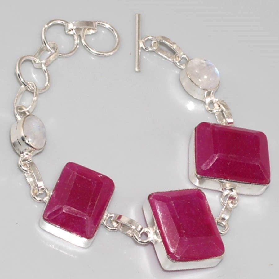 Ru 0322a bracelet rubis cachemire moonstone argent 925 achat vente