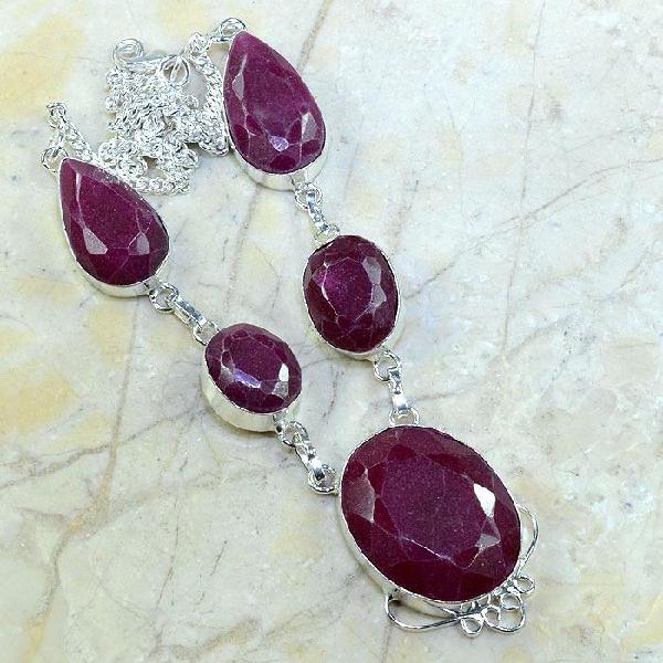 Ru 0325a collier parure sautoir rubis cachemire bijou argent 925 achat vente