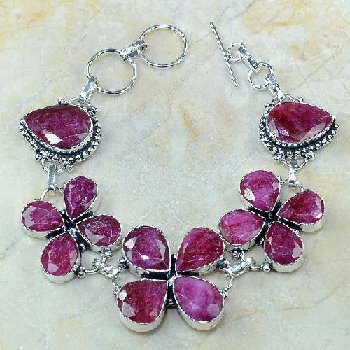 Ru 0329a bracelet porte bonheur trefle rubis cachemire bijou argent 925 achat vente