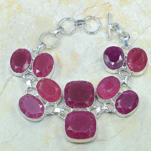 Ru 0333a bracelet rubis cachemire argent 925 achat vente