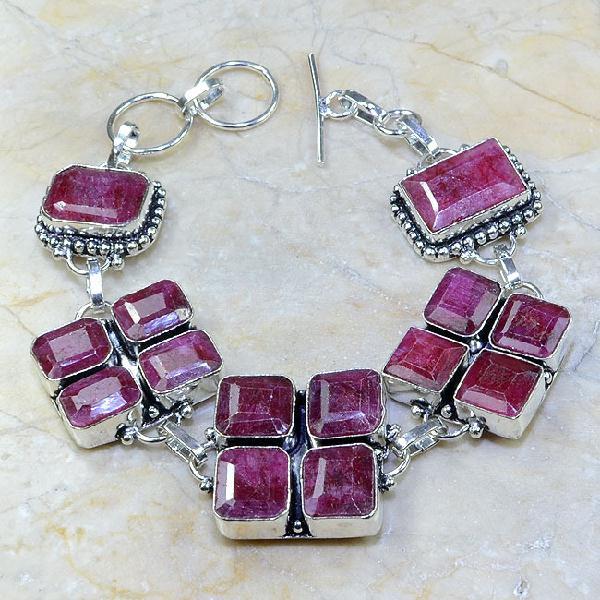 Ru 0334a bracelet rubis cachemire argent 925 achat vente bijoux