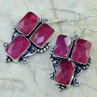 Ru 0343b boucles pendants oreilles rubis cachemire argent 925 achat vente bijou