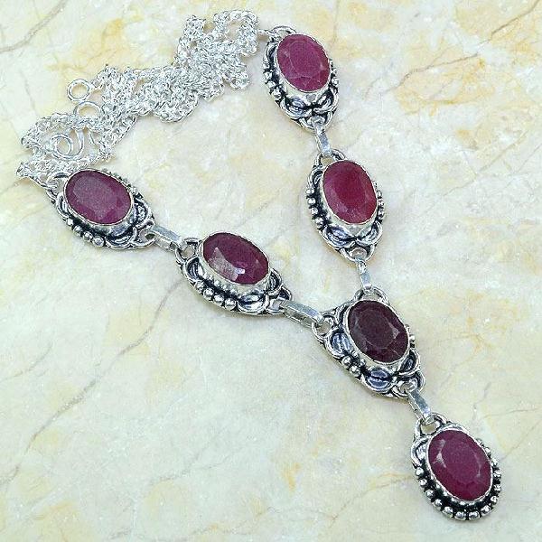 Ru 0344a collier parure sautoir rubis cachemire bijou argent 925 achat vente