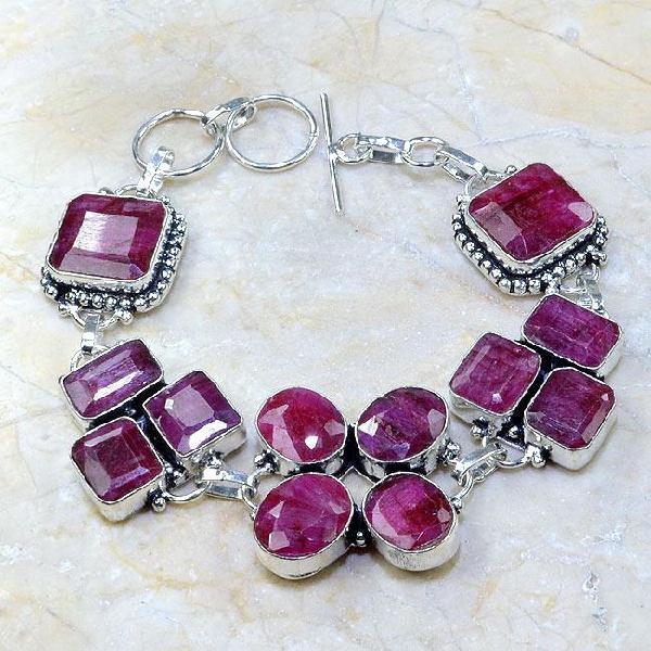 Ru 0346a bracelet rubis cachemire argent 925 achat vente bijou