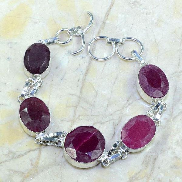 Ru 0348a bracelet rubis cachemire argent 925 achat vente bijou