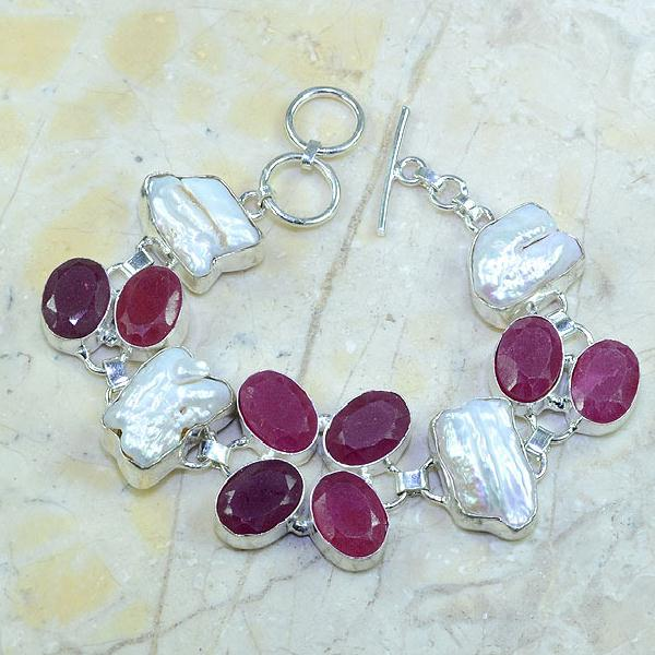 Ru 0350a bracelet rubis cachemire perle nacre argent 925 achat vente bijou