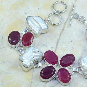 Ru 0350b bracelet rubis cachemire perle nacre argent 925 achat vente bijou