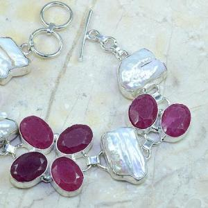 Ru 0350c bracelet rubis cachemire perle nacre argent 925 achat vente bijou