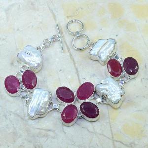Ru 0350d bracelet rubis cachemire perle nacre argent 925 achat vente bijou