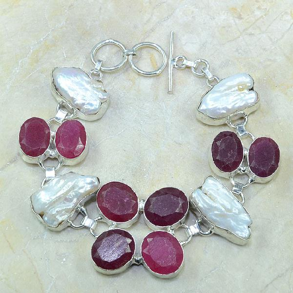 Ru 0352a bracelet rubis cachemire perle nacre argent 925 achat vente bijou