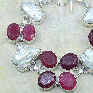 Ru 0352b bracelet rubis cachemire perle nacre argent 925 achat vente bijou