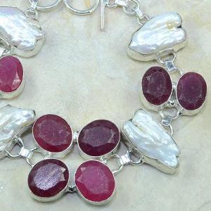 Ru 0352c bracelet rubis cachemire perle nacre argent 925 achat vente bijou