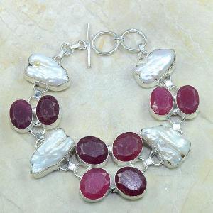 Ru 0352d bracelet rubis cachemire perle nacre argent 925 achat vente bijou