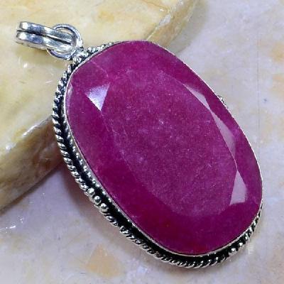 Ru 0358a pendant pendentif rubis cachemire gemme pierre taillee bijou argent 925 achat vente