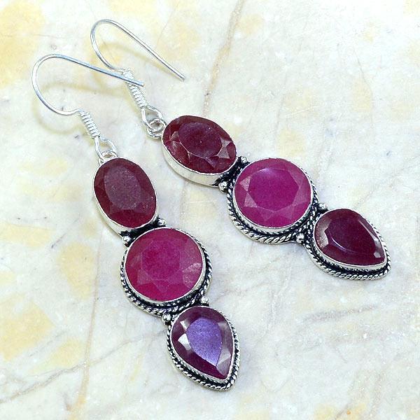 Ru 3881a boucles pendants oreilles rubis achat vente bijou argent 925
