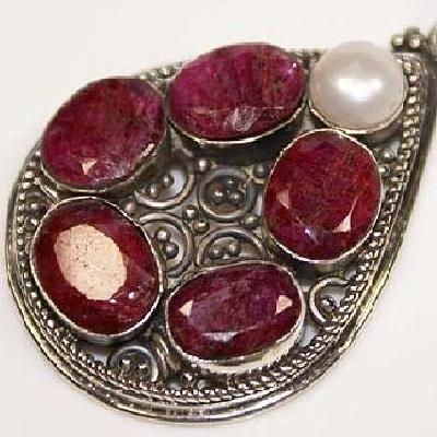 Rub 035c pendentif pendant rubis cachemire perle 14gr achat vente bijou argent 926