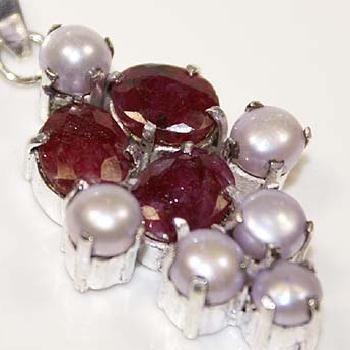 Rub 105b pendentif pendant rubis 17gr cachemire perle 14gr achat vente bijou argent 925