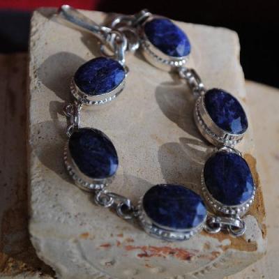 RUB-132 - BRACELET en SAPHIR Bleu du cachemire - argent 925 - 86 carats - 17,2 gr