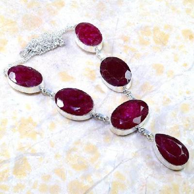 Rub 381a parure collier boucles rubis cachemire bijou argent 925 achat vente