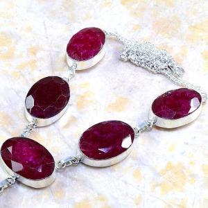 Rub 381b parure collier boucles rubis cachemire bijou argent 925 achat vente