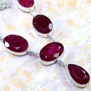 Rub 381c parure collier boucles rubis cachemire bijou argent 925 achat vente