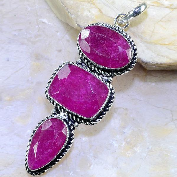 Rub 383a pendant pendentif rubis cachemire bijou argent 925 achat vente