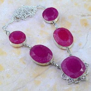 Rub 386a parure collier boucles rubis cachemire bijou argent 925 achat vente