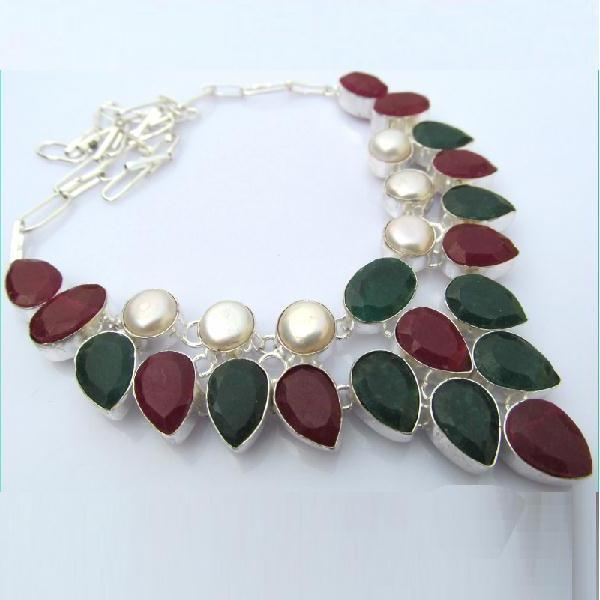 Rub 392a collier parure sautoir rubis emeraude perles bijou argent 925