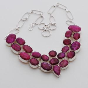 Rub 394a collier parure sautoir rubis argent 925 achat vente
