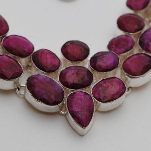 Rub 394c collier parure sautoir rubis argent 925 achat vente
