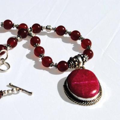 Rub 395a collier parure sautoir rubis argent 925 achat vente 1