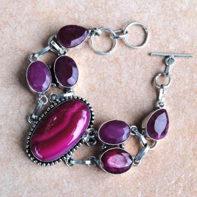 Rub 401a bracelet rubis agate rose achat vente bijou argent 926