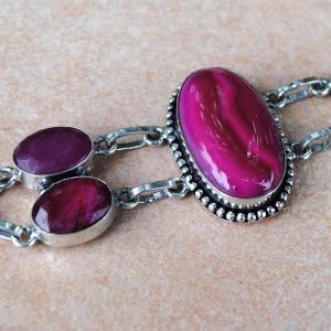 Rub 401b bracelet rubis agate rose achat vente bijou argent 925